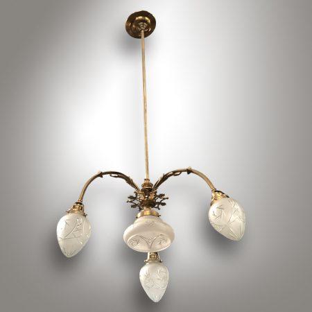 Art Nouveau brass chandelier