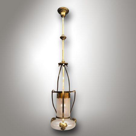 Art Nouveau chandelier with iridescent glass